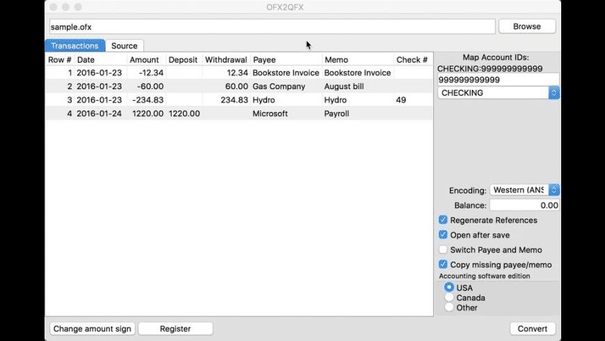 OFX2QFX for Mac - review, screenshots