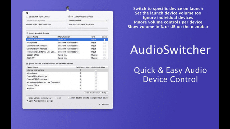 AudioSwitcher for Mac - review, screenshots