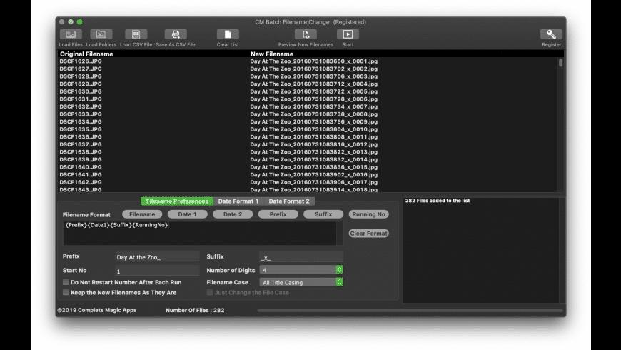 CM Batch Filename Changer for Mac - review, screenshots
