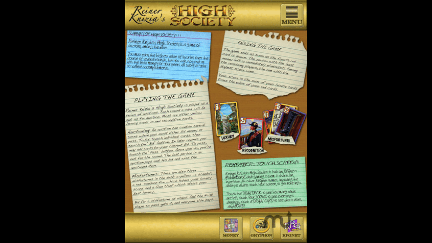 Reiner Knizia\'s High Society for Mac - review, screenshots