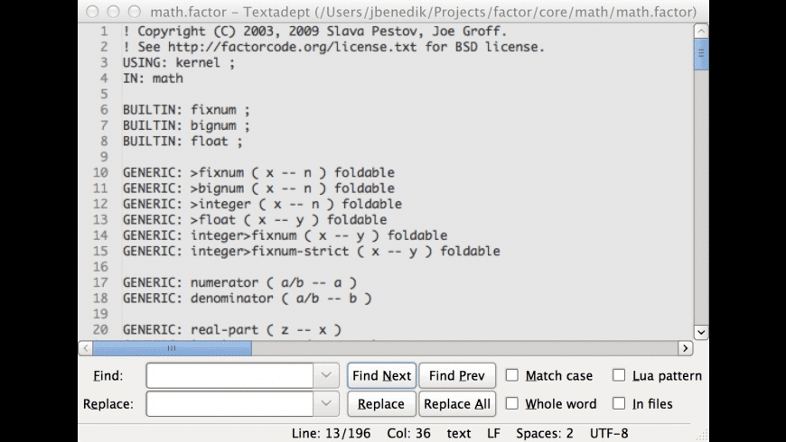 Textadept for Mac - review, screenshots