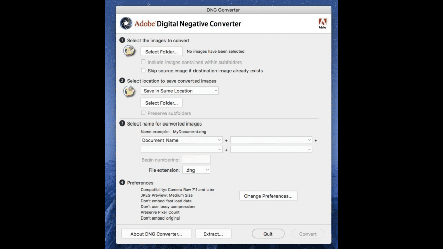 Adobe DNG Converter for Mac - review, screenshots
