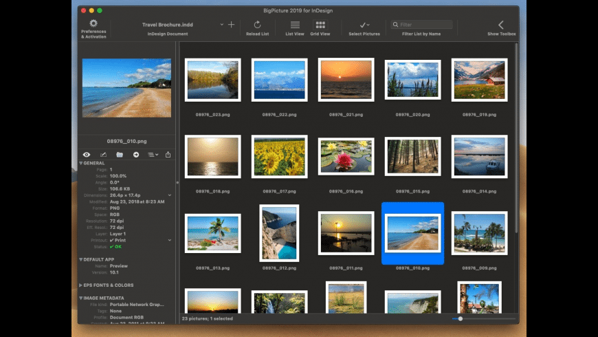 Badia BigPicture for InDesign for Mac - review, screenshots