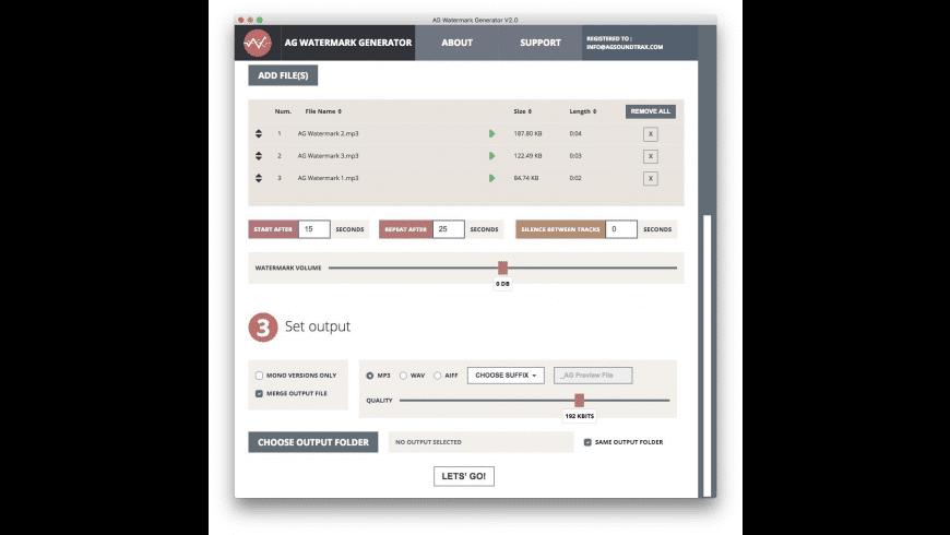 AG Audio Watermark Generator for Mac - review, screenshots