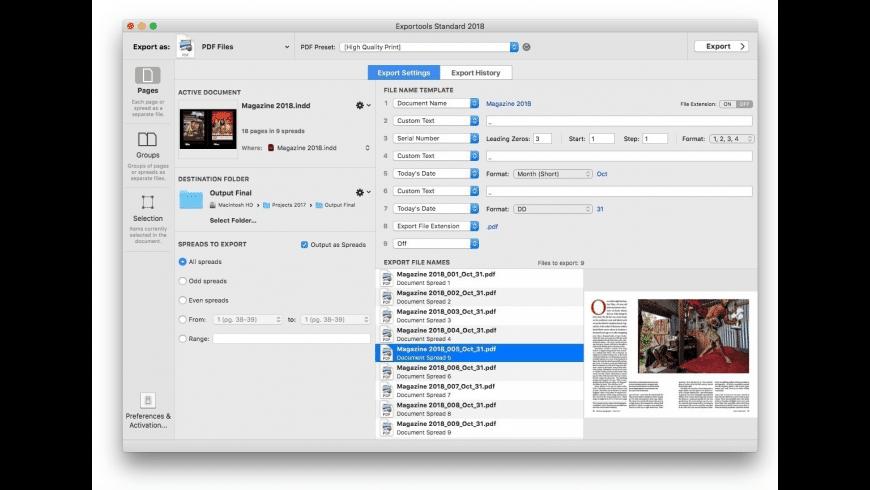 Badia Exportools Standard for InDesign for Mac - review, screenshots