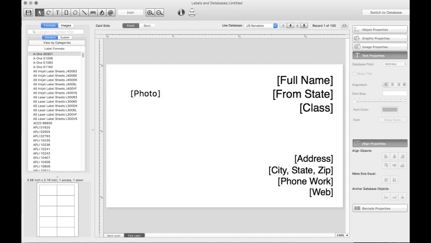 Labels and Databases for Mac - review, screenshots