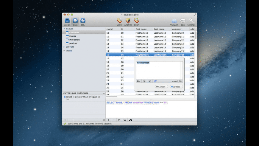 SQLiteManager for Mac - review, screenshots