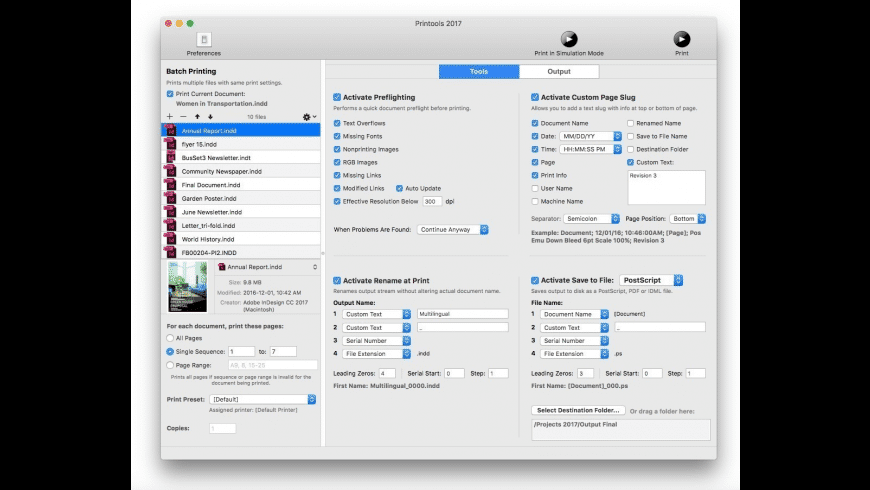 Badia Printools for InDesign for Mac - review, screenshots