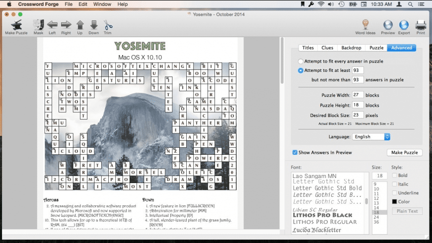 Crossword Forge for Mac - review, screenshots