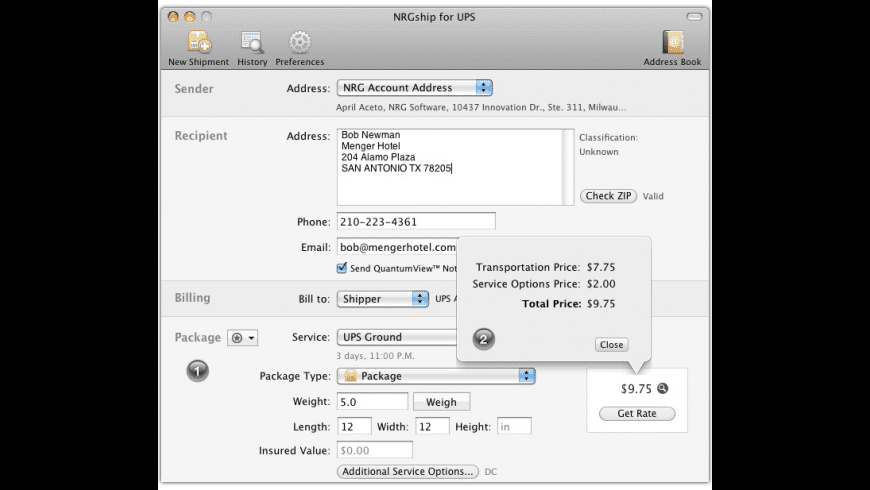NRGship UPS for Mac - review, screenshots