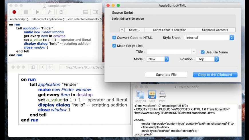 AppleScriptHTML for Mac - review, screenshots