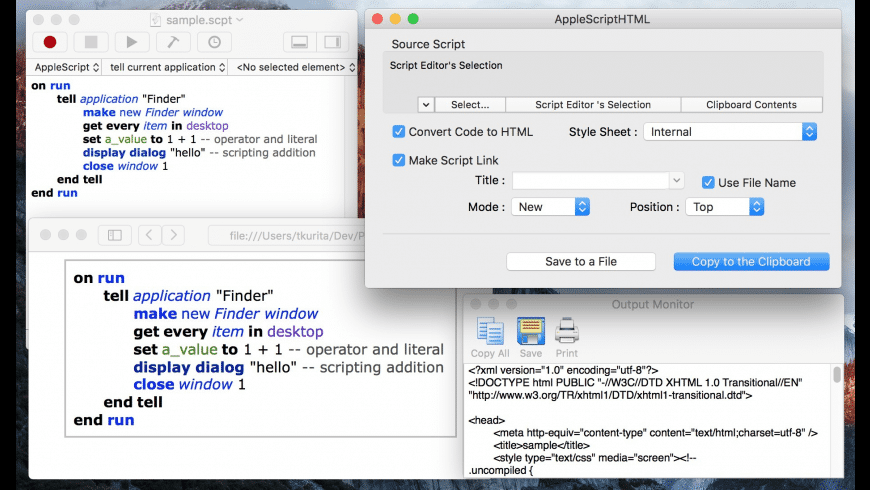 AppleScriptHTML for Mac - review, screenshots