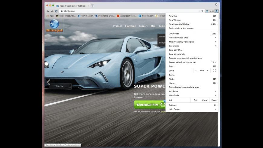 Slimjet for Mac - review, screenshots