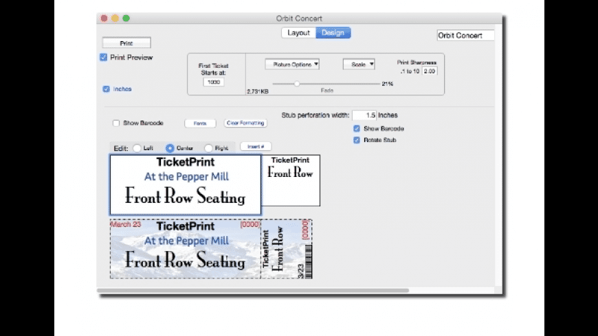TicketPrint for Mac - review, screenshots