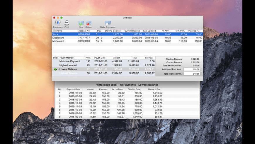 Debt Quencher for Mac - review, screenshots