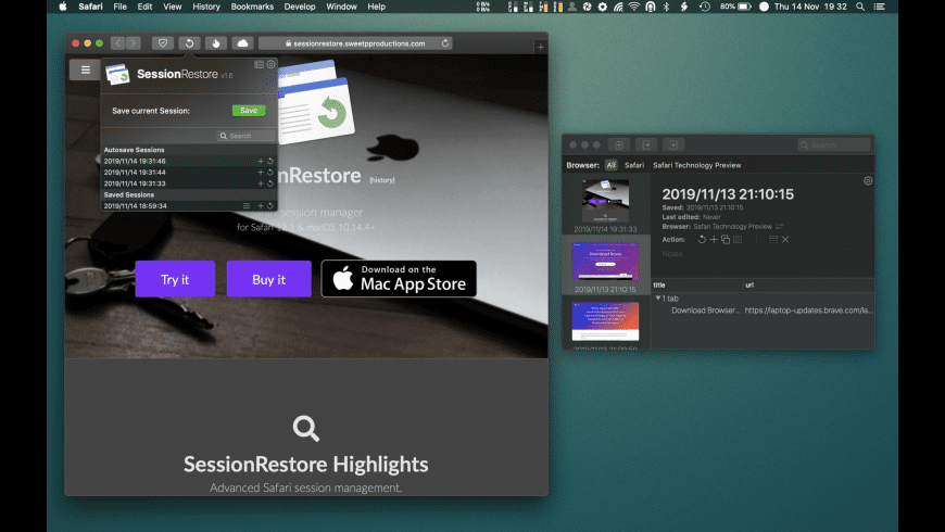 SessionRestore for Mac - review, screenshots