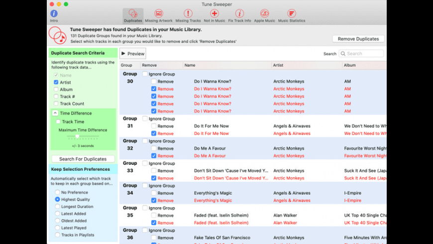 Tune Sweeper for Mac - review, screenshots