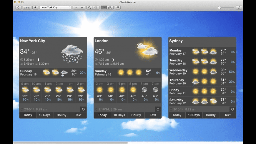 ClassicWeather for Mac - review, screenshots