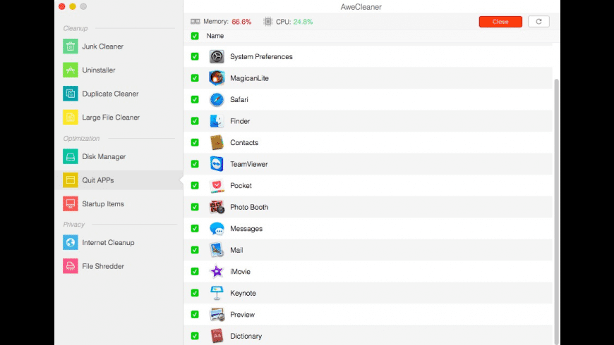 AweCleaner for Mac - review, screenshots