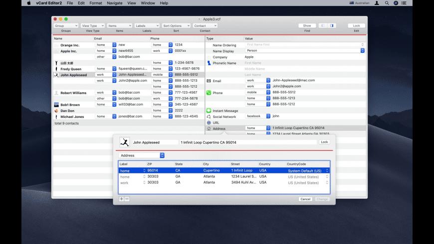 vCard Editor for Mac - review, screenshots