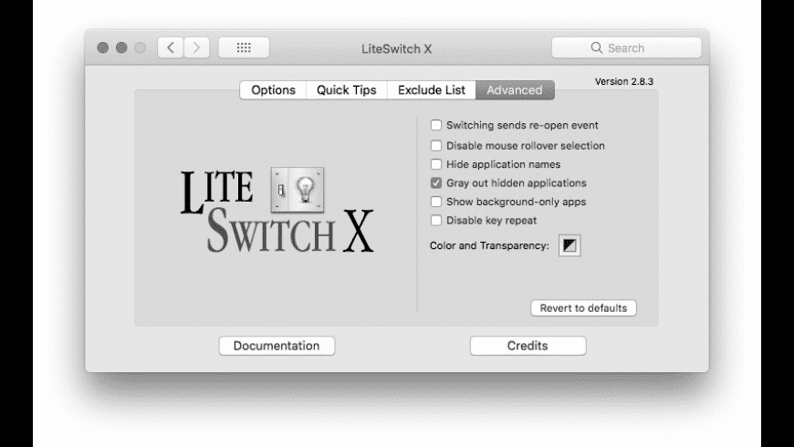 LiteSwitch X for Mac - review, screenshots
