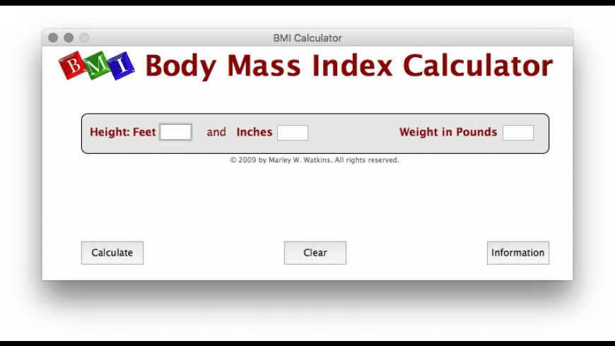 Body Mass Index Calculator for Mac - review, screenshots