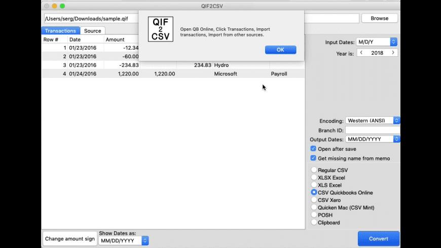 QIF2CSV for Mac - review, screenshots