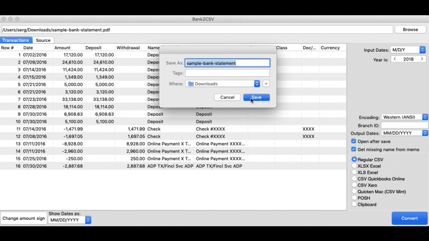Bank2CSV for Mac - review, screenshots