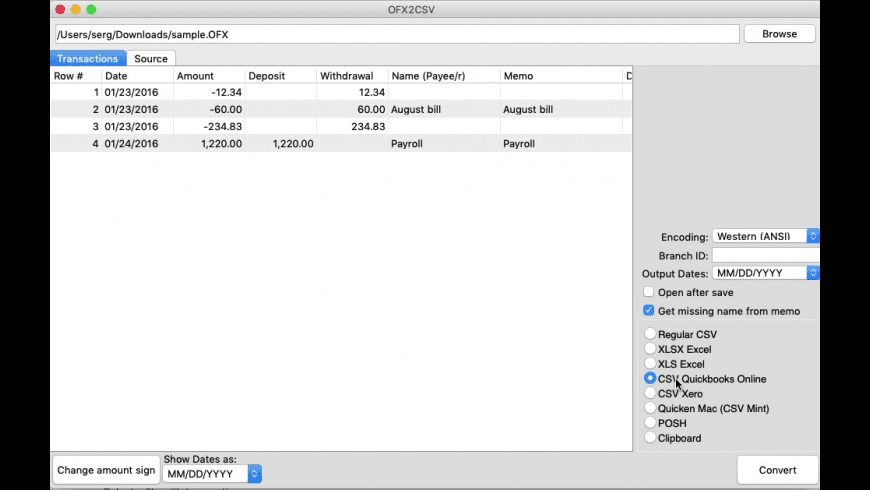 OFX2CSV for Mac - review, screenshots