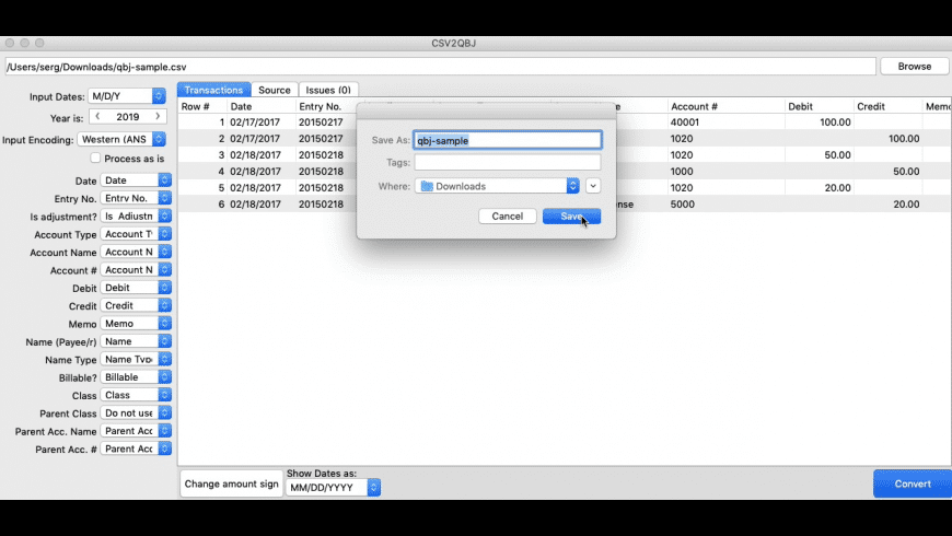 CSV2QBJ for Mac - review, screenshots