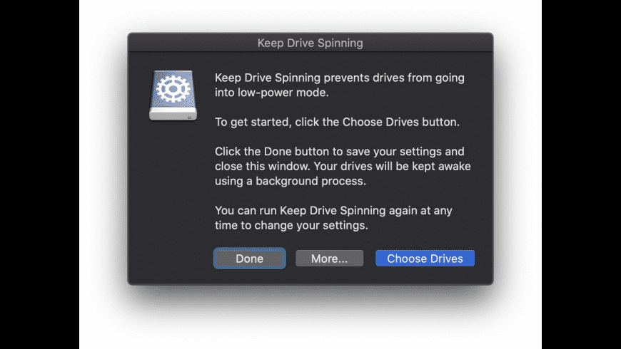 Keep Drive Spinning for Mac - review, screenshots