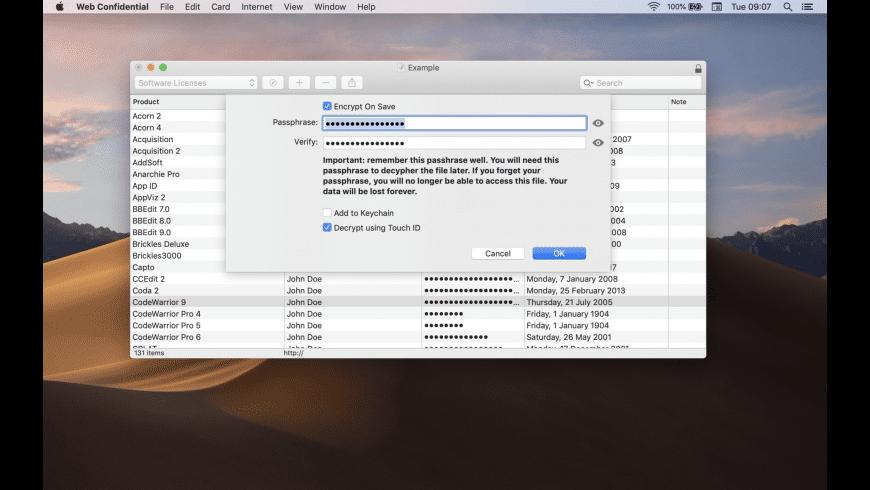 Web Confidential for Mac - review, screenshots
