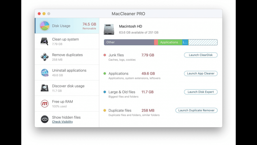 MacCleaner PRO for Mac - review, screenshots