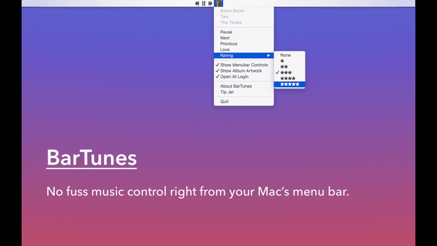 BarTunes for Mac - review, screenshots