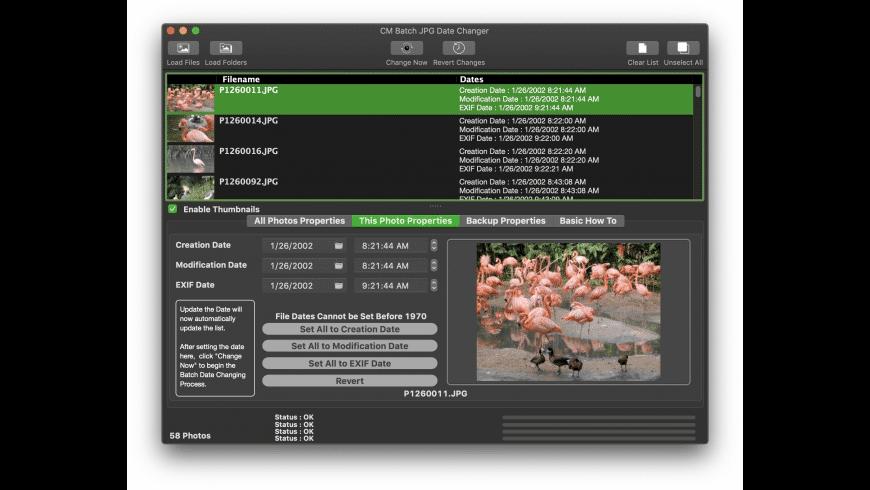 CM Batch JPG Date Changer for Mac - review, screenshots