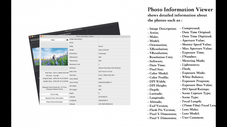 Photo Information Viewer for Mac - review, screenshots