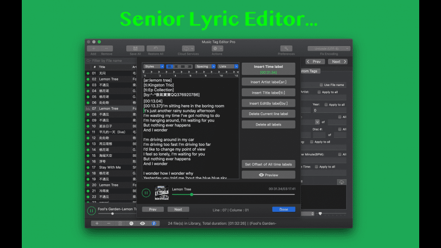 Music Tag Editor for Mac - review, screenshots