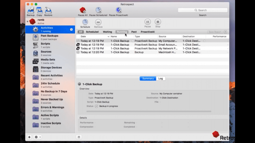 Retrospect Client for Mac - review, screenshots