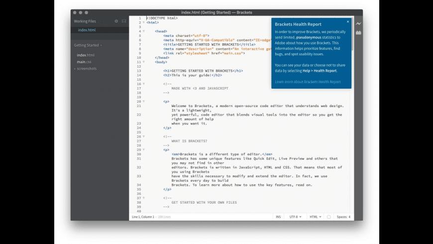Brackets for Mac - review, screenshots