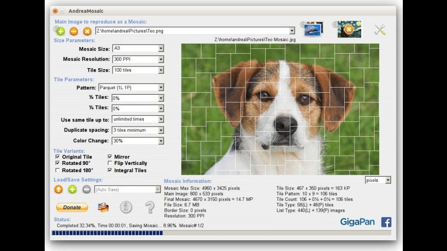 AndreaMosaic for Mac - review, screenshots