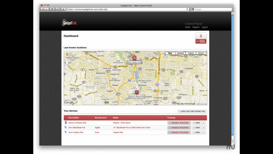 GadgetTrak for Mac - review, screenshots