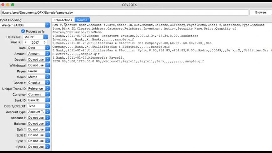 CSV2QFX for Mac - review, screenshots