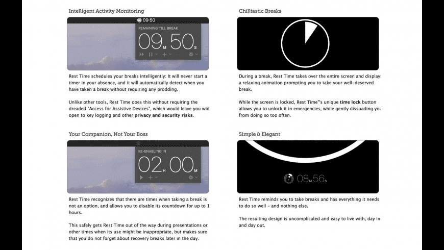 Rest Time for Mac - review, screenshots