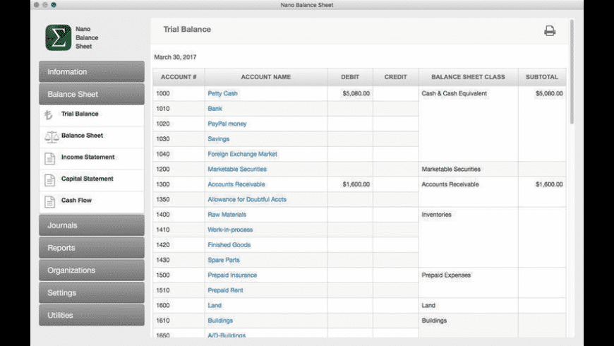 Nano Balance Sheet for Mac - review, screenshots