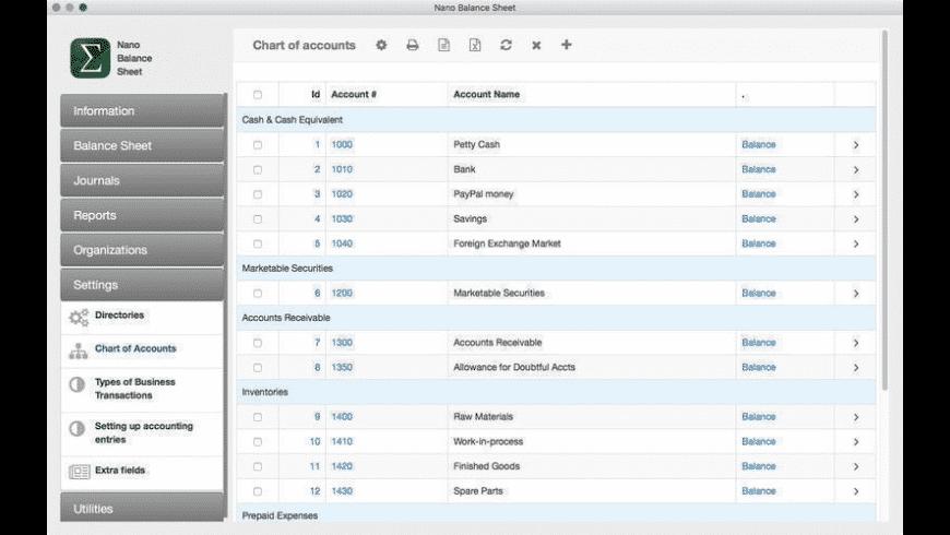Nano Balance Sheet for Mac - review, screenshots