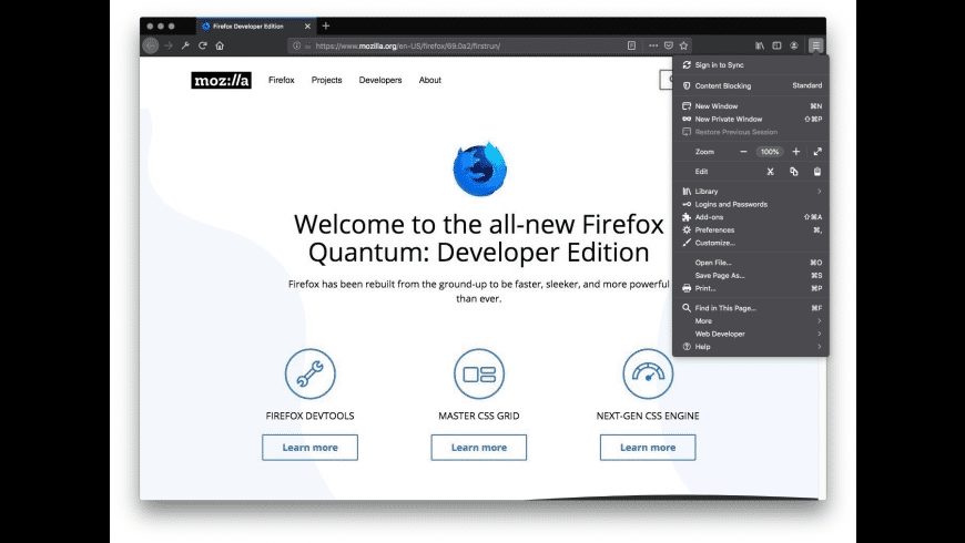 Firefox Developer Edition for Mac - review, screenshots