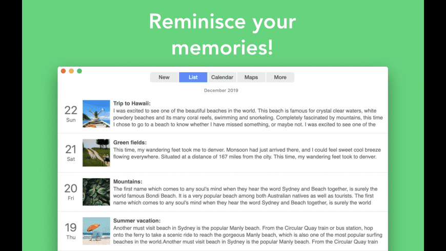Reminisce for Mac - review, screenshots