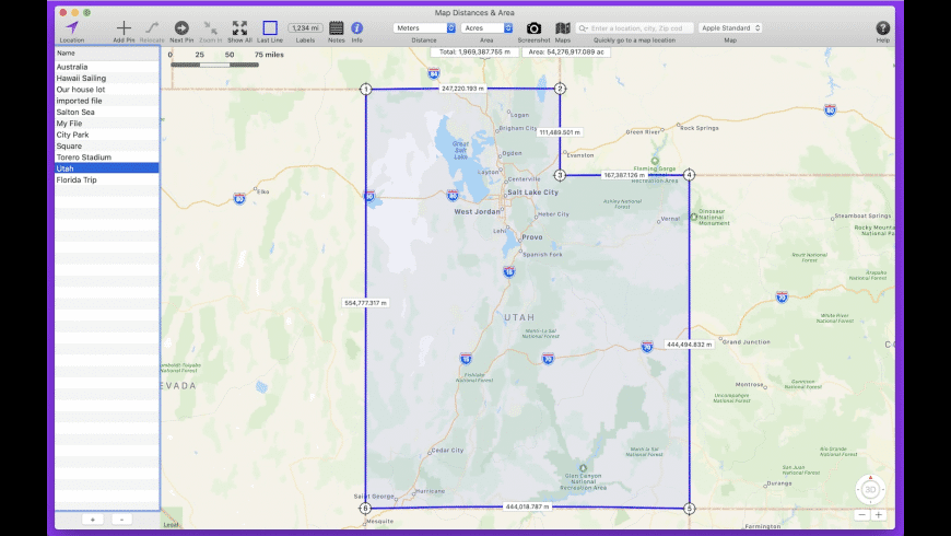 Map Distances & Area for Mac - review, screenshots