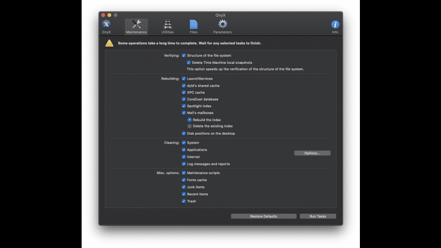 OnyX for Mac - review, screenshots