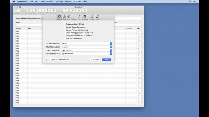 SiteSucker for Mac - review, screenshots